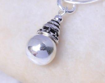 Tibetan Silver Ball Pendant, Silver Bead Charm, Silver Pendant, Minimalist Pendant, Bohemian Jewelry, Delicate Charm, P67
