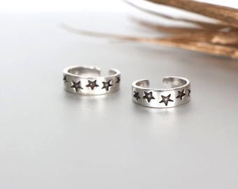 Sterling Silver Star Toe Ring, Free Size Toe Ring, Toe Ring, Simple Toe Rings, Gift For Her, Free Size Toe Ring, Minimal Toe Band, (TS 70)