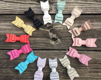 Leather bow hair clip. Hair accessory. Pink bow. White bow. Gold bow. Black bow. Blue bow. Mint bow.