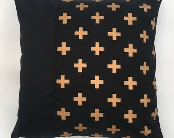 Metallic gold cross throw pillow cushion cover
