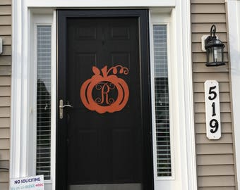 Halloween pumpkin wood monogram