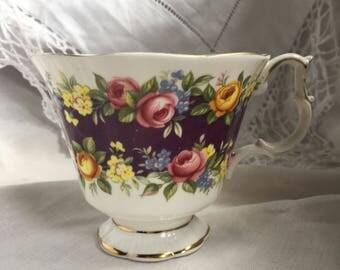 Royal Albert , Garland series radiance orphan teacup / royal albert garland series replacement teacup