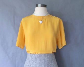 vintage silk blouse/ minimalist silk top/ silk shirt/ 80s silk top/ gold women's size S/M