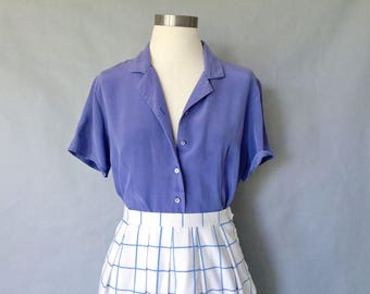 vintage silk blouse/ minimalist silk top/ silk shirt/ 80s silk top/purple/ cobalt blue women's size S/M