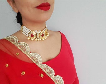 Elegant Pearl Choker with Kundan and Ruby Accents, Ruby Choker Necklace, Indian Jewelry, Indian Jewelry Set, Dupatta, Indian Nose Ring