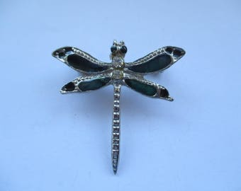 Vintage Silver Tone Enamelled Dragonfly Brooch With White Rhinestones, Dragonfly Pin, Dragonfly, Bug Brooch, Bug Pin, Bug Jewellery