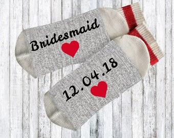 Bridesmaids gifts - Novelty Socks - Words on socks - bridal party gift - text on socks - custom socks - bridesmaids gift idea