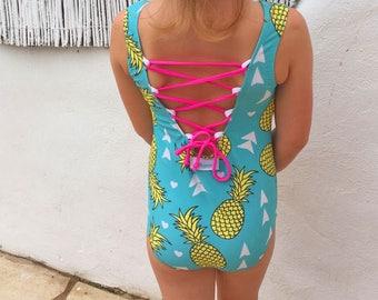 Girls Swimsuit - Lace up back  BUGSY SWIMWEAR