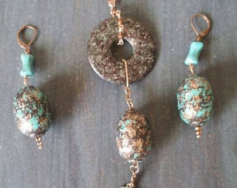 Teal necklace and earring set