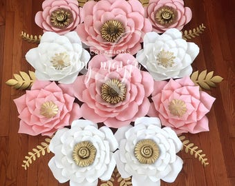 10 piece paper flower set / nursery flowers / baby shower