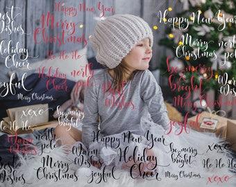 Christmas Photography overlays,  White Christmas Typography, Seasonal photoshop overlay, social media template, hand letter