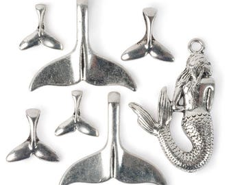Mermaid Pendants & Tails - Ant. Silver (STEAM322)