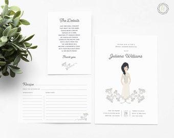 Bridal Shower Invitation, Custom Bridal Shower Invite, Bride Illustration, Printable Invitation, Illustrated Bridal Shower Invite, #ITP