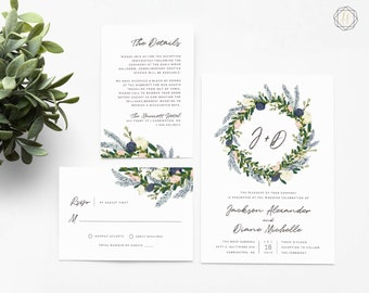 Wedding Invitation, Watercolor Wedding Invitation, Printable Wedding Invitation, Floral Wedding Invitation, Wedding Invitation Suite, #BGW