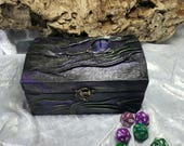 Dragon Treasure Chest Wooden Box covered in Genuine Leather for Dice Trinkets Jewellery etc with a Large Hand Painted Glass Cabochon Eye.