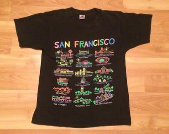 Medium 1990 San Francisco California T shirt men's vintage black neon rainbow 90's Fruit of the Loom tourist CA