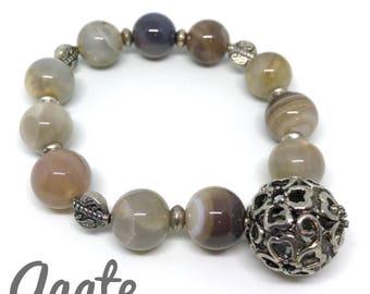 Gray natural Agate beaded bracelet