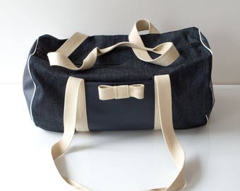 Duffel bag in denim and faux leather Arielle
