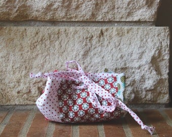 Cotton red and white polka dot and pineapple pattern purse