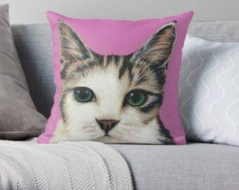 Tabby Cat scatter sofa cushion | pink cat lover scatter sofa cushion | cat lover throw pillow | cat lover cushion