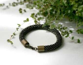 """dark brown metallic """"Snake"""" beaded bracelet"""