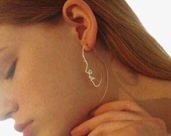 Unique minimal face shape  earrings