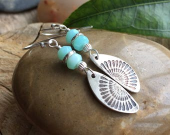 Pretty earrings/gift for her/ boho earrings / blue peruvian earrings / sterling silver earrings