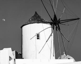 Black and White Santorini Windmill Print - Fine Art Photography - Santorini Print - Santorini Photography - Oia Windmill BW - 0137