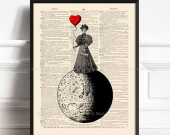 Luna, Woman on The Moon, Nursery Print Moon, Luna Wall Hangings, Love You To The Moon Anniversary Gifts Valentines Day Gift Moon Nursery 407