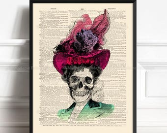 Calavera Catrina, Skulls Lover Gift, Sugar Skull Poster, Gothic Poster Gift, Mexican Skull, Gift For Her Print, Dictionary Poster 040