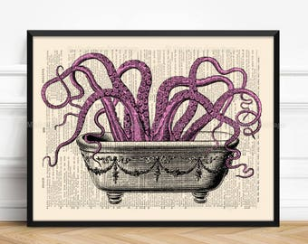 Tentacles Bathroom, Octopus Bathroom Art, Cute Girlfriend Gift, Octopus Print, Xmas Poster Gift, 6th Birthday Gift, Geekery Octopus, 512