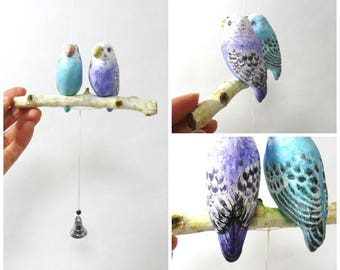 Parrots Mobile,hanging mobile with bell, unique  gift, by atelierRJM