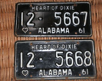Alabama License Plates - 1961  -  Consecutive Order Pair -  Heart of Dixie