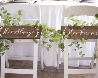 His Always, Her Forever | Wedding Chair Signs | Always & Forever Chair Signs | Wedding Chair Decor