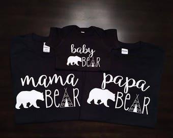 Mama Bear, Papa Bear, Baby Bear, Brother Bear, Sister Bear, Birthday Bear, Family Matching Sets, woodland birthday, Christmas pajamas