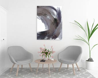 Large Abstract Art, Navy Blue and Grey Brush Strokes, Minimalist Prints, Large Abstract Painting, Oversized Wall Art, Large Canvas Art