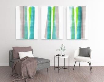Abstract Art, Oversized Wall Art, Large Canvas Art, Coastal Decor, Triptych Wall Art Set of 3 Prints, Scandinavian Print, Geometric Art