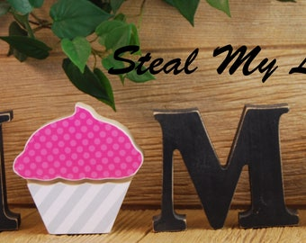"Cupcake: Spring and Birthday Stand Alone Decoration and ""O"" Insert ONLY - Craft for ""H M E"", ""L V E"" or ""WELCME"" Interchangeable Letter Set"