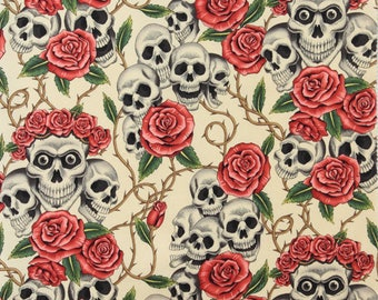 The Rose Tattoo (Skulls & Roses) in Tea from Alexander Henry 6457AR quilting sheeting cotton nicole's prints fabric by the yard