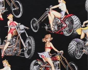 Hot Wheels in Black from Alexander Henry Nicole's Prints 2732D motorcycles bikes pin up girls quilting cotton fabric by the yard