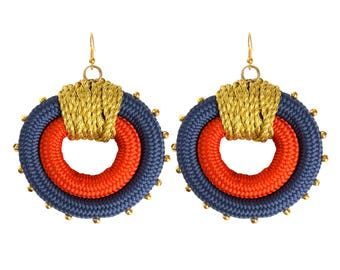 Rope and gold Beaded Statement Hoop Earrings in Orange, Navy Blue and Gold