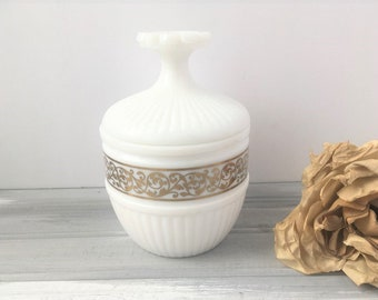 White Milk Glass Jar with Lid / White Jar / White Candy Jar / Bathroom Jar / Bathroom Storage / White Jar with Lid