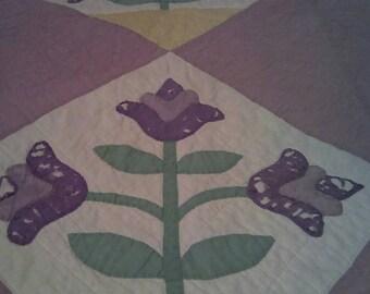Quilt, handmade quilt, antique, farmhouse antique, antique quilt, vintage quilt, shabby chic, flower quilt, purple quilt, old quilt, vintage