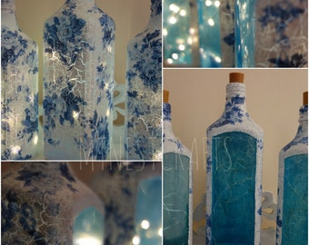 Blue Floral, Bombay Gin Bottle Light