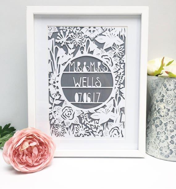 Framed Wedding Papercut Wedding Gift Wedding Present