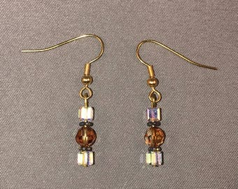 Topaz and clear Swarovski crystal earrings 029