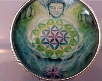 1 Budda zen mandala glass cabochon pendants  stash reduction clearance p72