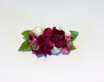 Doll Hair Clip - 1728 (Burgundy & Pikake)