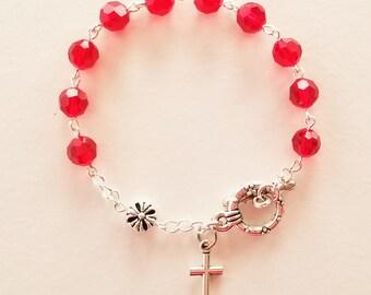 Ruby Crystal Rosary Bracelet