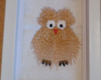 Framed Funky Owl Embroidered Picture